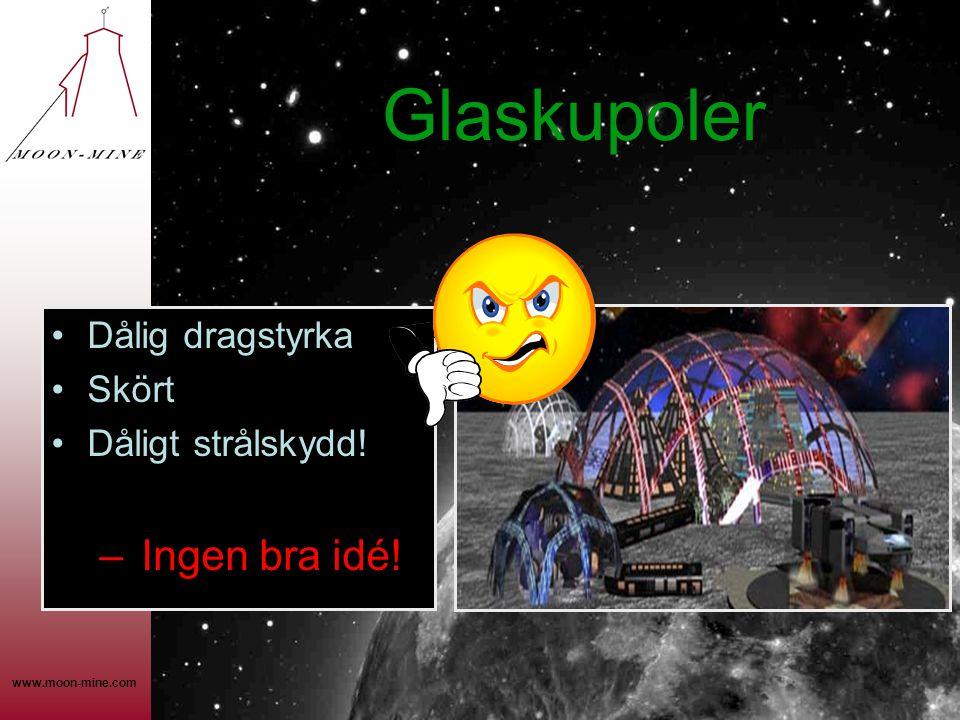 www.moon-mine.com Glaskupoler •Dålig dragstyrka •Skört •Dåligt strålskydd! – Ingen bra idé!