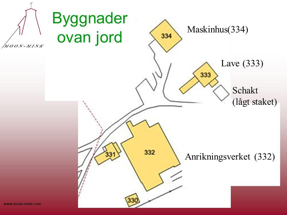 www.moon-mine.com Maskinhus(334) Anrikningsverket (332) Lave (333) Schakt (lågt staket) Byggnader ovan jord