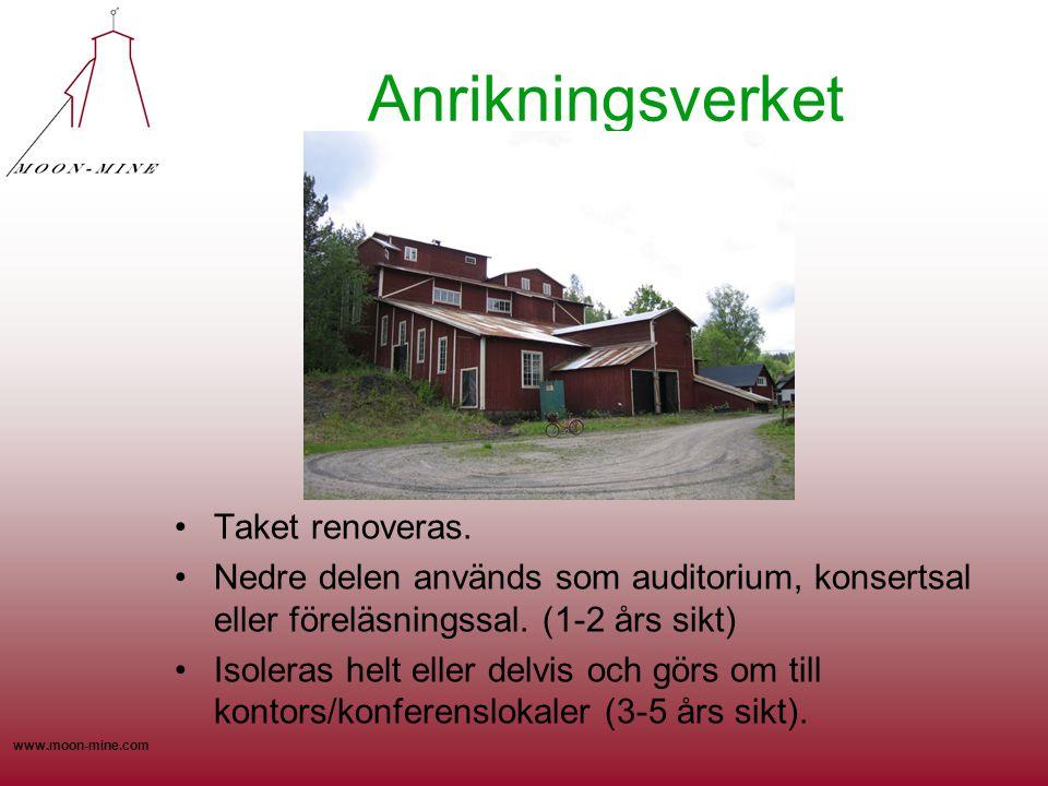 www.moon-mine.com Anrikningsverket •Taket renoveras. •Nedre delen används som auditorium, konsertsal eller föreläsningssal. (1-2 års sikt) •Isoleras h