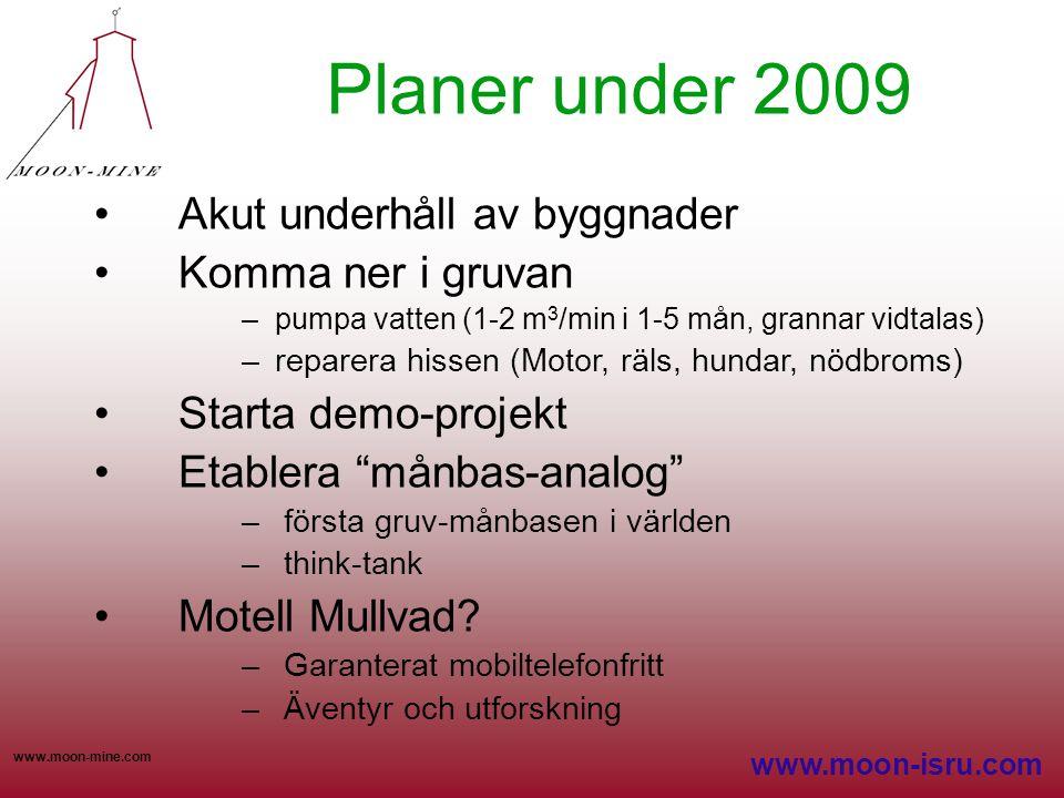 www.moon-mine.com Planer under 2009 •Akut underhåll av byggnader •Komma ner i gruvan –pumpa vatten (1-2 m 3 /min i 1-5 mån, grannar vidtalas) –reparer