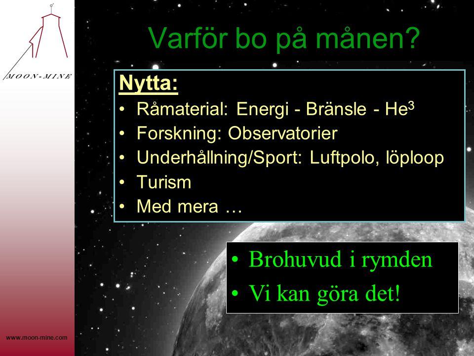 www.moon-mine.com Varför bo på månen? Nytta: •Råmaterial: Energi - Bränsle - He 3 •Forskning: Observatorier •Underhållning/Sport: Luftpolo, löploop •T
