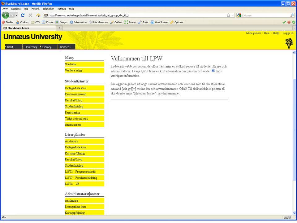 Studentwebben – Mitt Lnu Innehåll: – Lista – mina kurser – Integrerat mot Blackboard och Moodle.