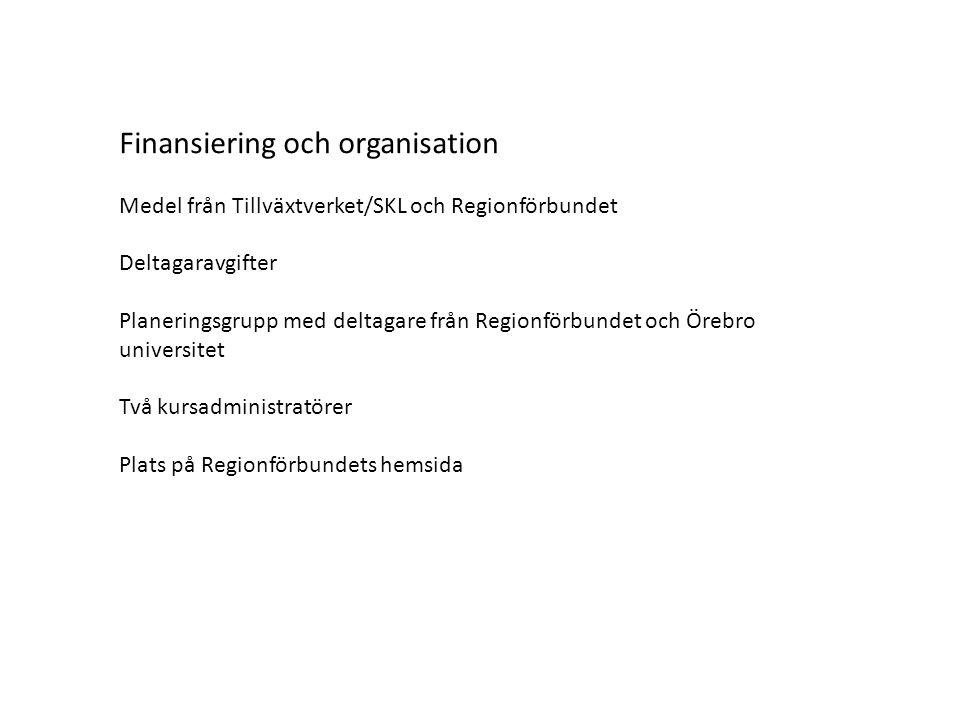 Finansiering och organisation Medel från Tillväxtverket/SKL och Regionförbundet Deltagaravgifter Planeringsgrupp med deltagare från Regionförbundet och Örebro universitet Två kursadministratörer Plats på Regionförbundets hemsida