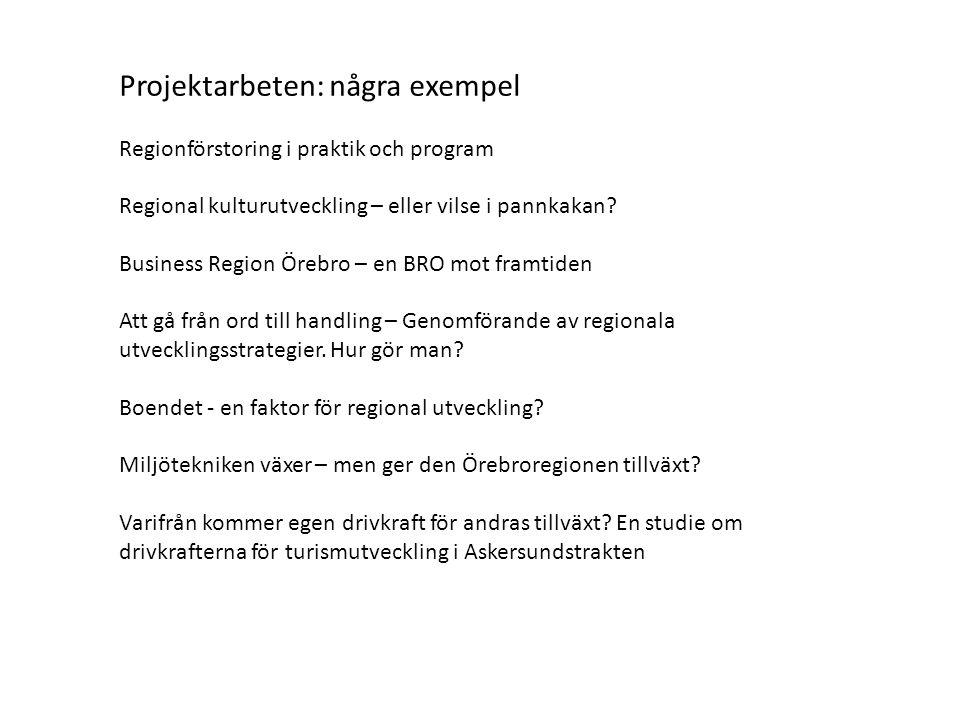 Projektarbeten: några exempel Regionförstoring i praktik och program Regional kulturutveckling – eller vilse i pannkakan.