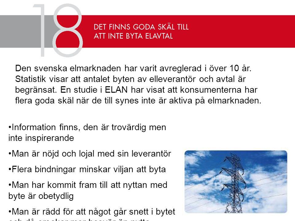 Den svenska elmarknaden har varit avreglerad i över 10 år.