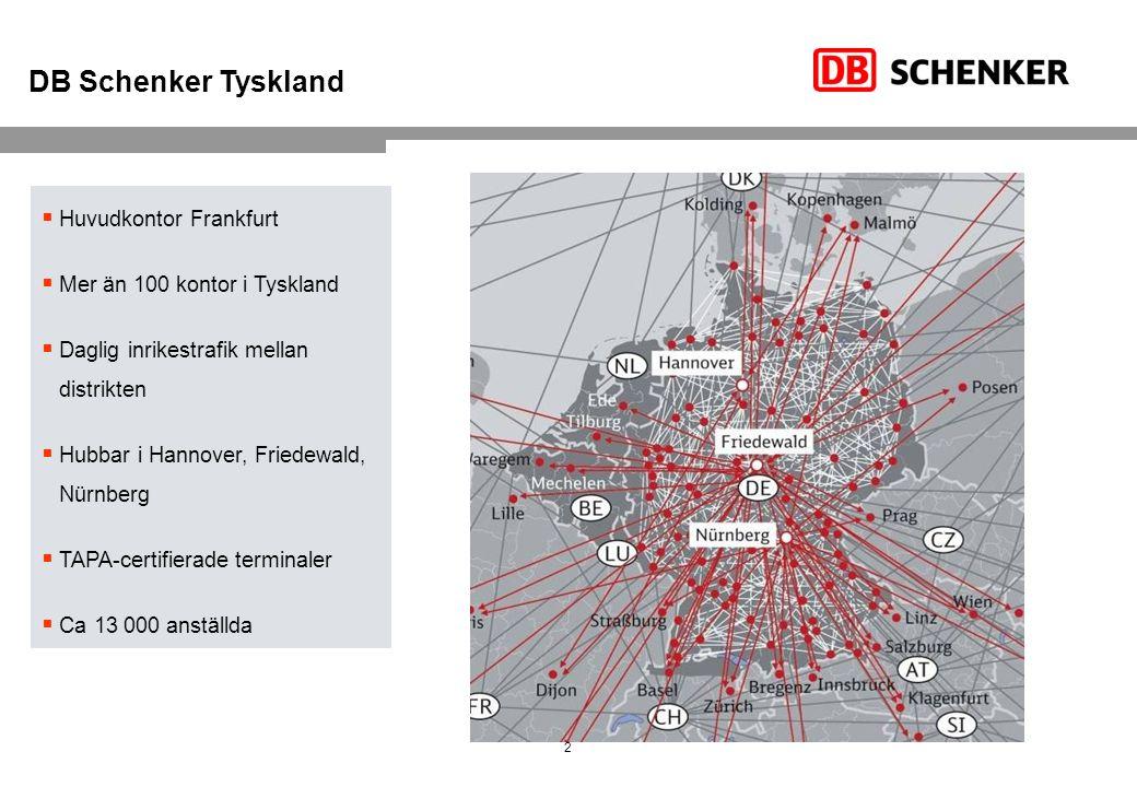 2  Huvudkontor Frankfurt  Mer än 100 kontor i Tyskland  Daglig inrikestrafik mellan distrikten  Hubbar i Hannover, Friedewald, Nürnberg  TAPA-certifierade terminaler  Ca 13 000 anställda DB Schenker Tyskland Bari