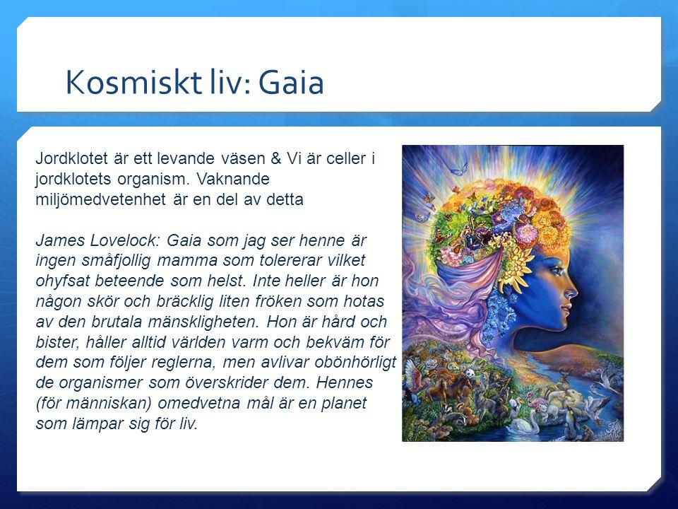 Kosmiskt liv: Gaia Jordklotet är ett levande väsen & Vi är celler i jordklotets organism. Vaknande miljömedvetenhet är en del av detta James Lovelock: