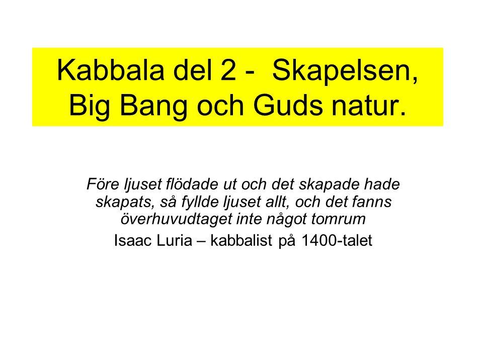 Kabbala del 2 - Skapelsen, Big Bang och Guds natur. Före ljuset flödade ut och det skapade hade skapats, så fyllde ljuset allt, och det fanns överhuvu