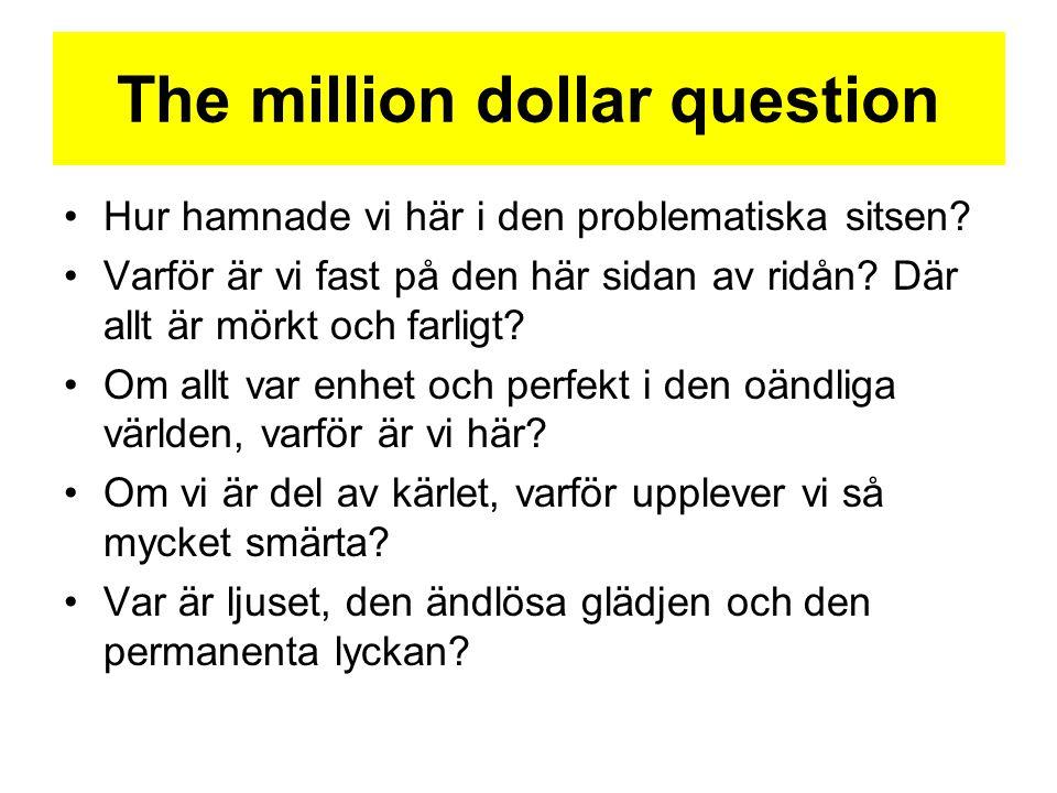 The million dollar question •Hur hamnade vi här i den problematiska sitsen? •Varför är vi fast på den här sidan av ridån? Där allt är mörkt och farlig