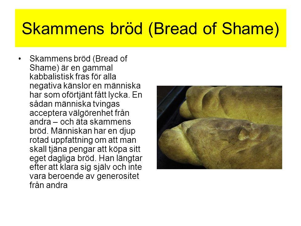 Skammens bröd (Bread of Shame) •Skammens bröd (Bread of Shame) är en gammal kabbalistisk fras för alla negativa känslor en människa har som oförtjänt