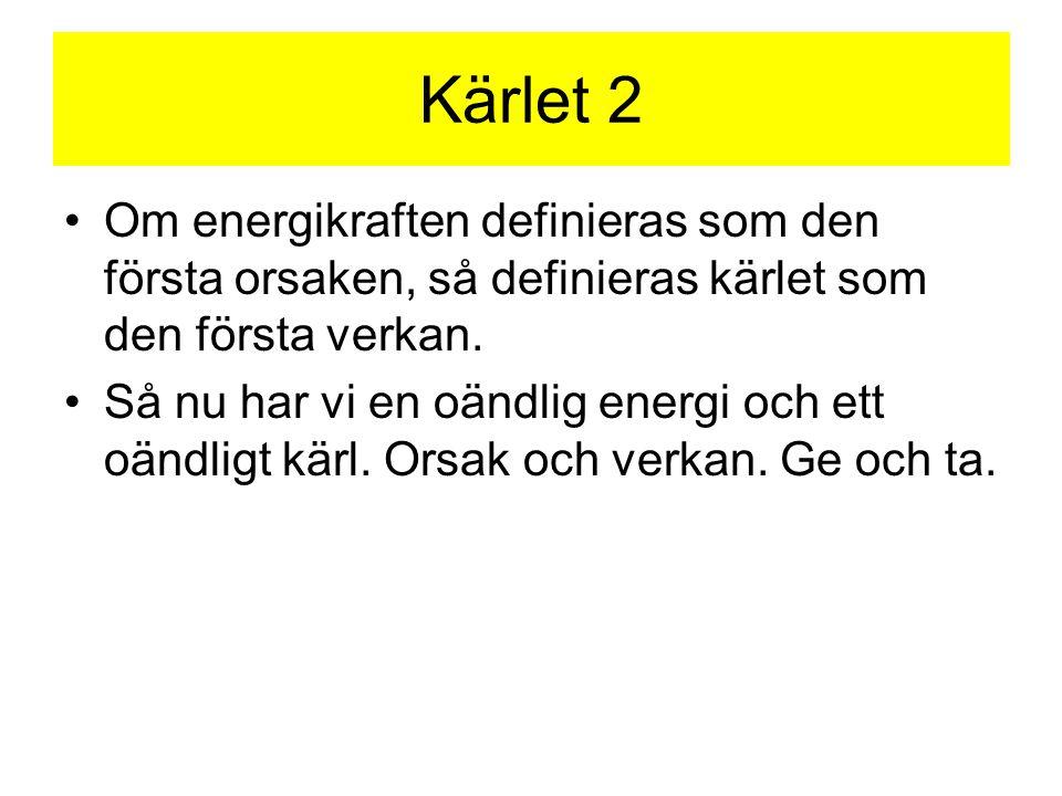 Kärlet 2 •Om energikraften definieras som den första orsaken, så definieras kärlet som den första verkan. •Så nu har vi en oändlig energi och ett oänd