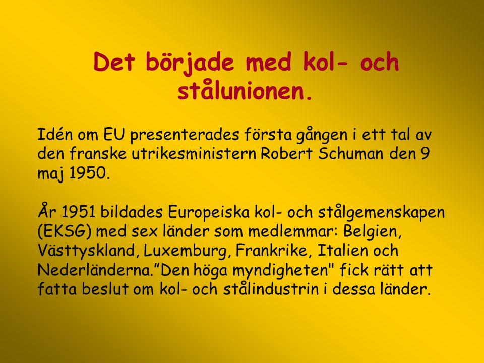 Det började med kol- och stålunionen. Idén om EU presenterades första gången i ett tal av den franske utrikesministern Robert Schuman den 9 maj 1950.