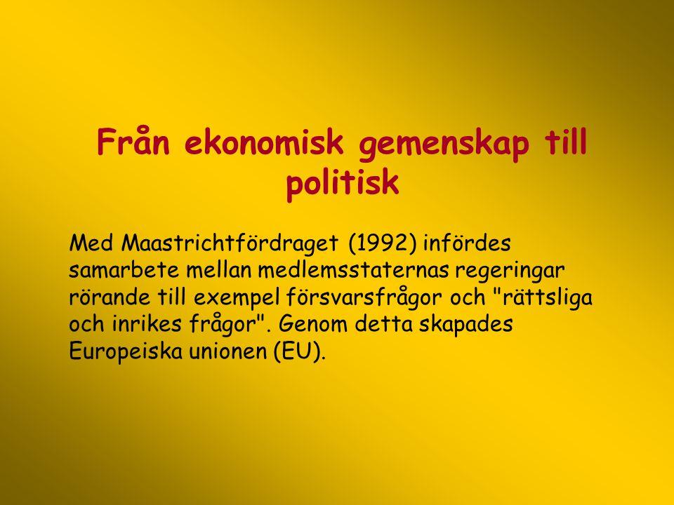 Från ekonomisk gemenskap till politisk Med Maastrichtfördraget (1992) infördes samarbete mellan medlemsstaternas regeringar rörande till exempel försv
