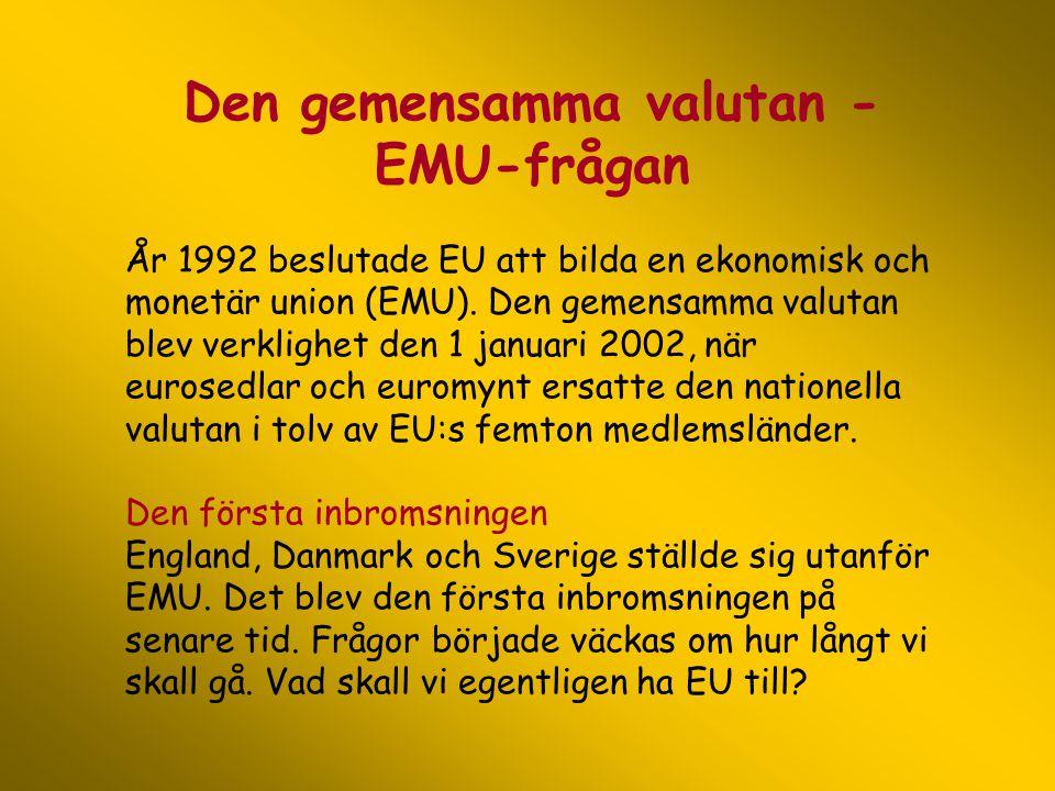 Den gemensamma valutan - EMU-frågan År 1992 beslutade EU att bilda en ekonomisk och monetär union (EMU). Den gemensamma valutan blev verklighet den 1
