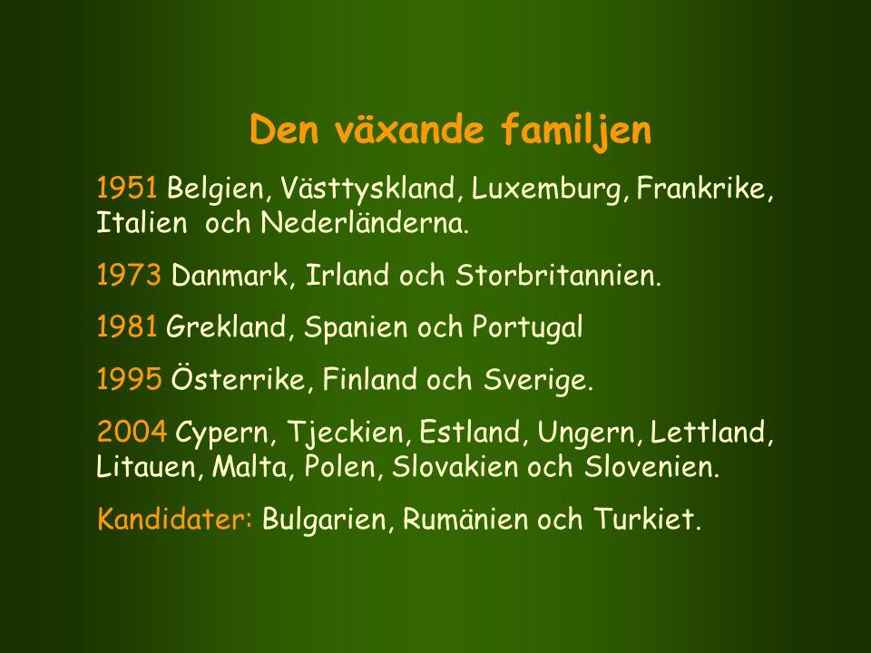Den växande familjen 1951 Belgien, Västtyskland, Luxemburg, Frankrike, Italien och Nederländerna. 1973 Danmark, Irland och Storbritannien. 1981 Grekla