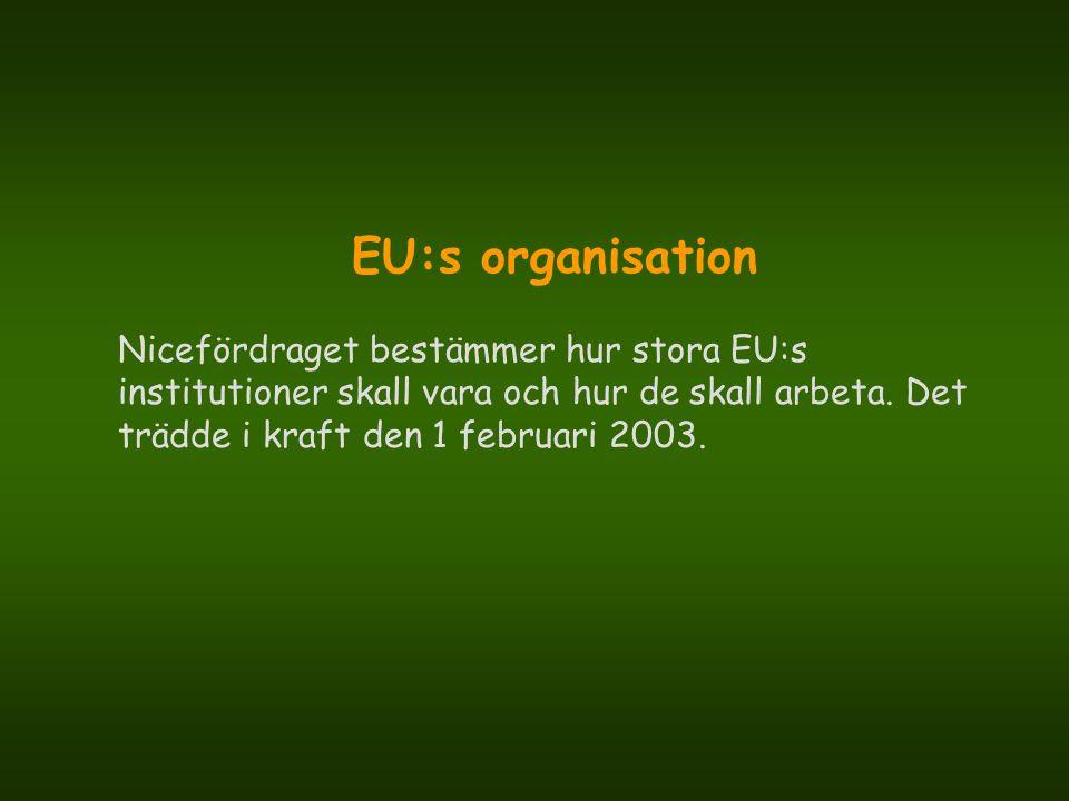 EU:s organisation Nicefördraget bestämmer hur stora EU:s institutioner skall vara och hur de skall arbeta. Det trädde i kraft den 1 februari 2003.