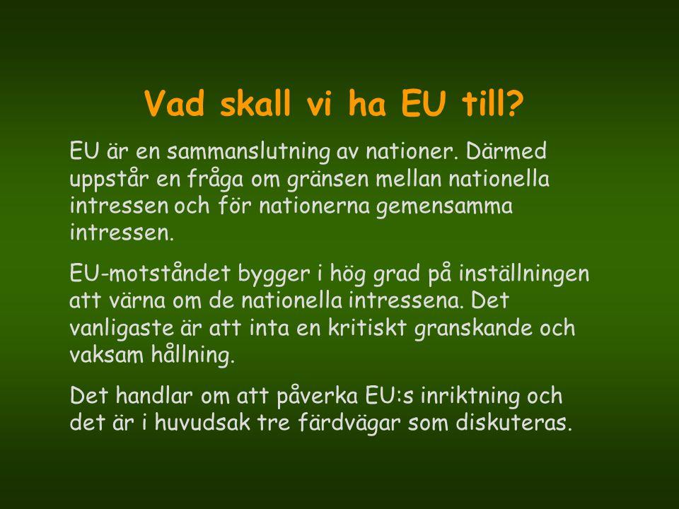 Vad skall vi ha EU till? EU är en sammanslutning av nationer. Därmed uppstår en fråga om gränsen mellan nationella intressen och för nationerna gemens