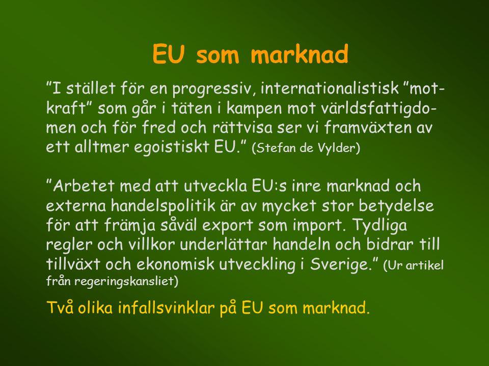 """EU som marknad """"I stället för en progressiv, internationalistisk """"mot- kraft"""" som går i täten i kampen mot världsfattigdo- men och för fred och rättvi"""