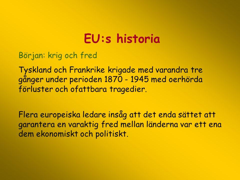 EU:s historia Början: krig och fred Tyskland och Frankrike krigade med varandra tre gånger under perioden 1870 - 1945 med oerhörda förluster och ofatt