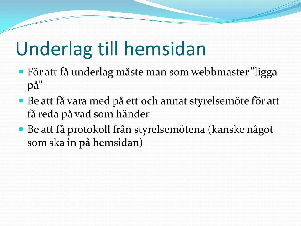"""Underlag till hemsidan  För att få underlag måste man som webbmaster """"ligga på""""  Be att få vara med på ett och annat styrelsemöte för att få reda på"""