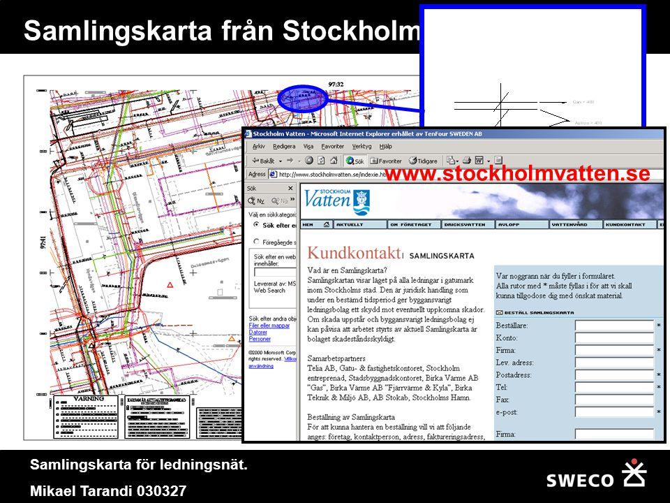 Samlingskarta för ledningsnät. Mikael Tarandi 030327 Samlingskarta från Stockholm textstege www.stockholmvatten.se