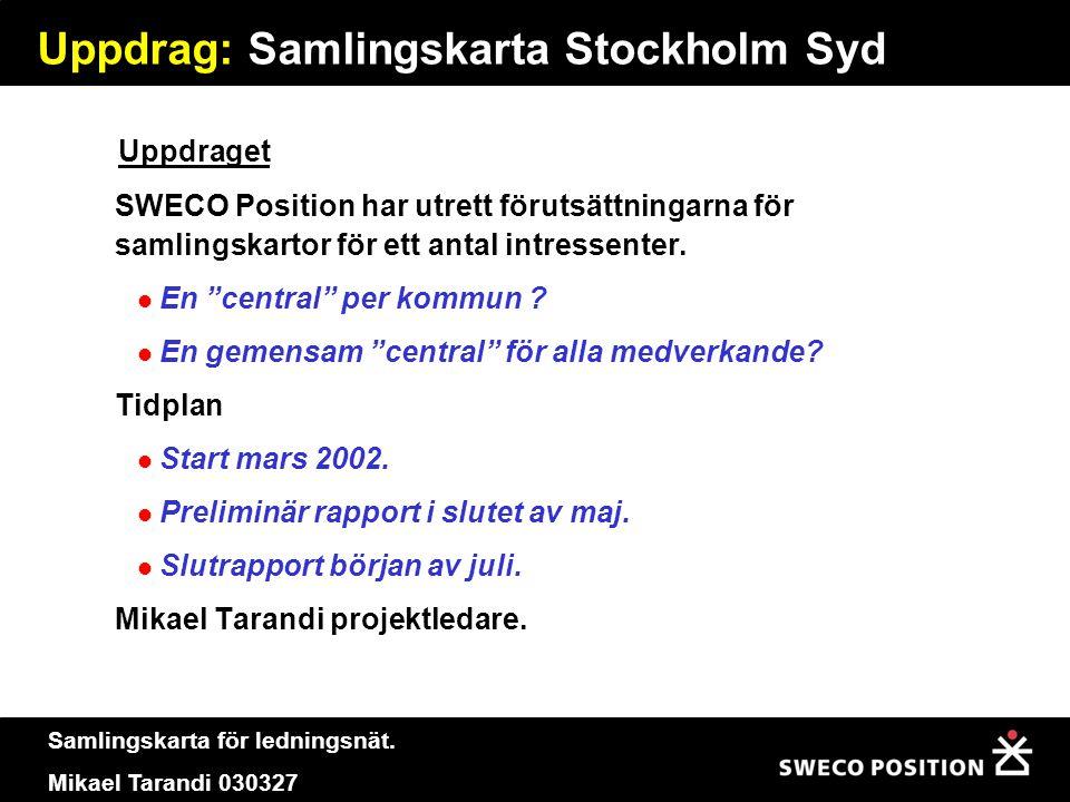 Samlingskarta för ledningsnät. Mikael Tarandi 030327 Uppdrag: Samlingskarta Stockholm Syd SWECO Position har utrett förutsättningarna för samlingskart