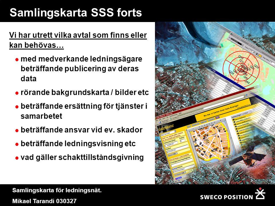 Samlingskarta för ledningsnät. Mikael Tarandi 030327 Samlingskarta SSS forts Vi har utrett vilka avtal som finns eller kan behövas…  med medverkande