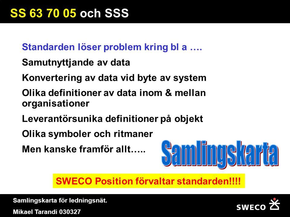 Samlingskarta för ledningsnät. Mikael Tarandi 030327 SS 63 70 05 och SSS Standarden löser problem kring bl a …. Samutnyttjande av data Konvertering av
