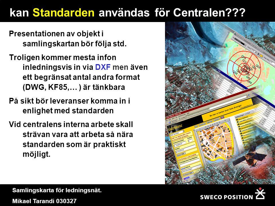 Samlingskarta för ledningsnät. Mikael Tarandi 030327 kan Standarden användas för Centralen??? Presentationen av objekt i samlingskartan bör följa std.