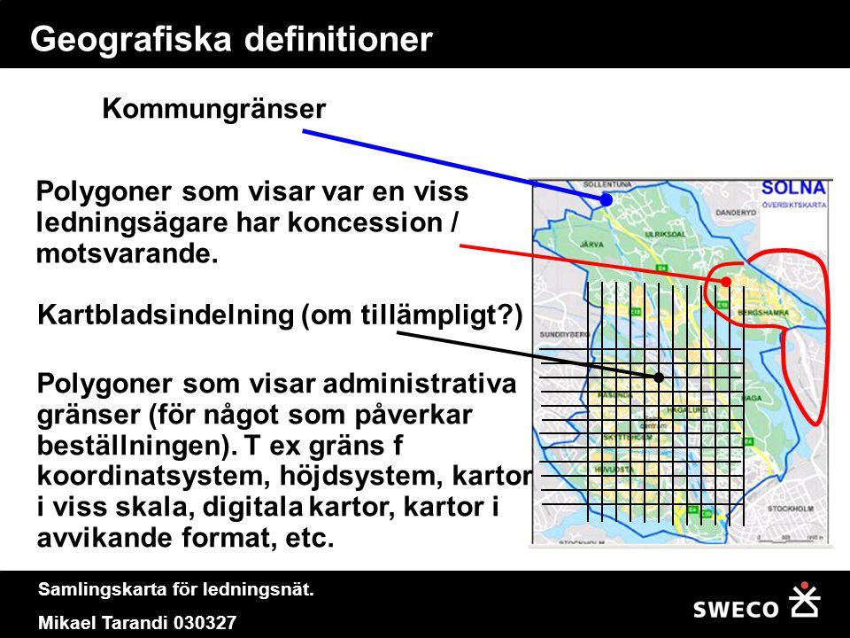 Samlingskarta för ledningsnät. Mikael Tarandi 030327 Geografiska definitioner Kartbladsindelning (om tillämpligt?) Polygoner som visar administrativa