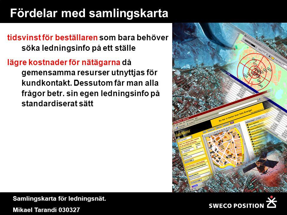 Samlingskarta för ledningsnät. Mikael Tarandi 030327 Fördelar med samlingskarta tidsvinst för beställaren som bara behöver söka ledningsinfo på ett st