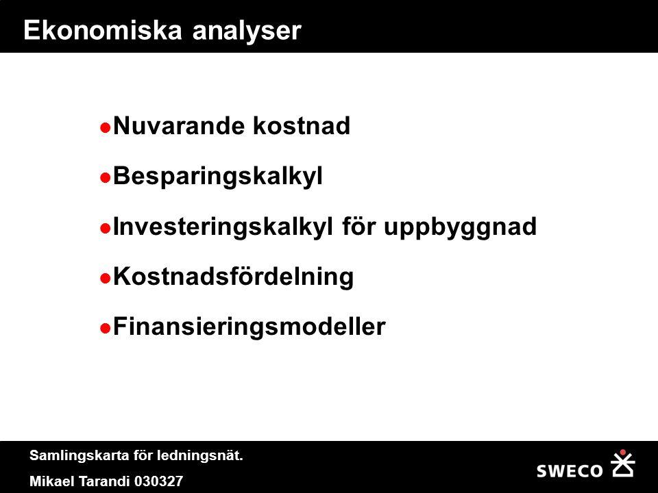 Samlingskarta för ledningsnät. Mikael Tarandi 030327 Ekonomiska analyser  Nuvarande kostnad  Besparingskalkyl  Investeringskalkyl för uppbyggnad 
