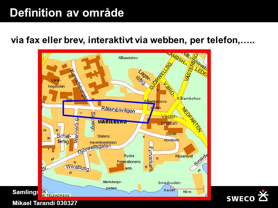Samlingskarta för ledningsnät. Mikael Tarandi 030327 Definition av område via fax eller brev, interaktivt via webben, per telefon,…..