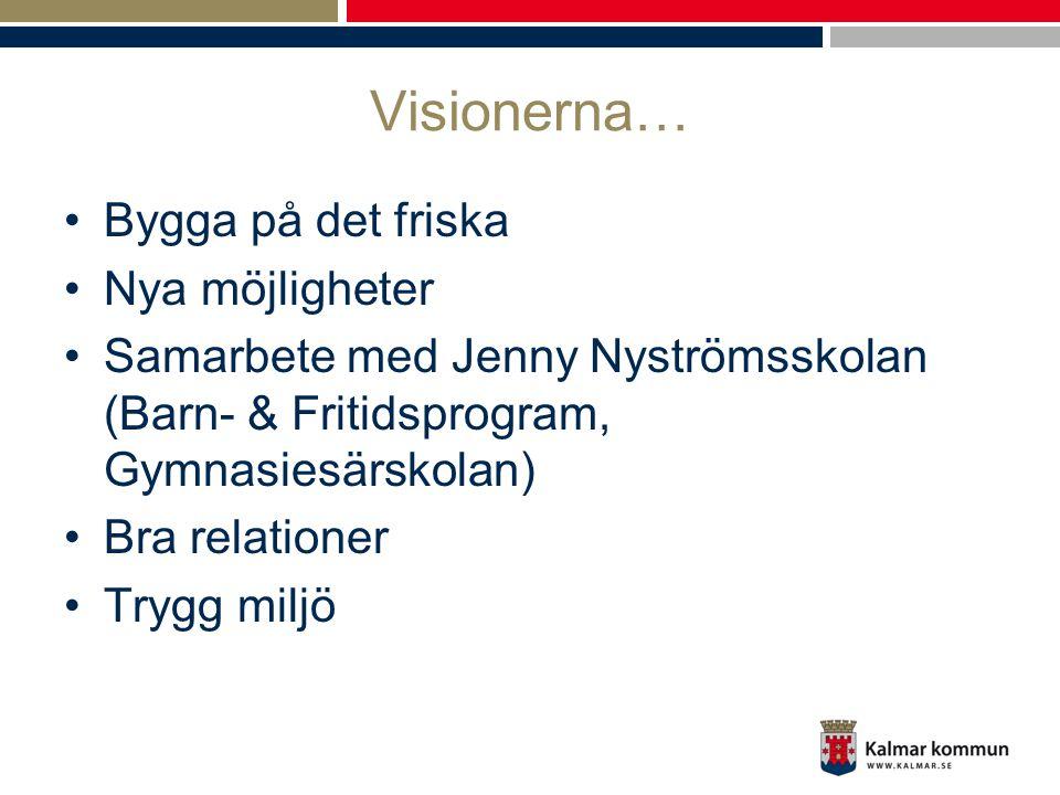 Visionerna… •Bygga på det friska •Nya möjligheter •Samarbete med Jenny Nyströmsskolan (Barn- & Fritidsprogram, Gymnasiesärskolan) •Bra relationer •Try