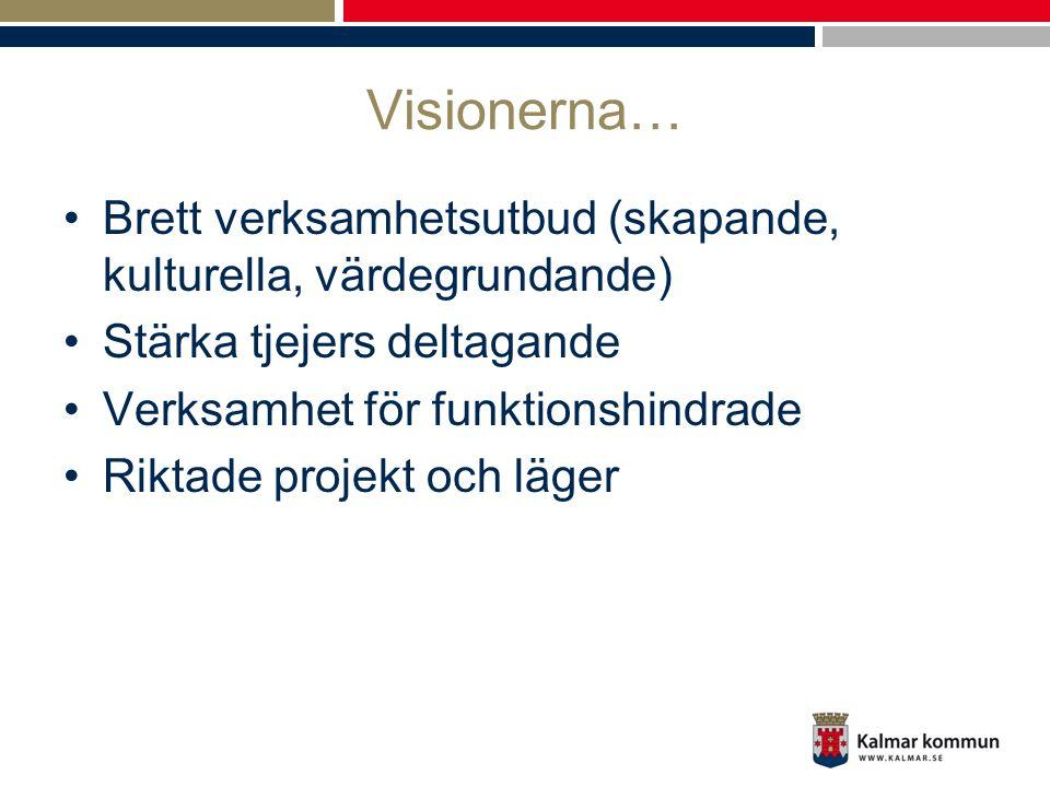 Visionerna… •Brett verksamhetsutbud (skapande, kulturella, värdegrundande) •Stärka tjejers deltagande •Verksamhet för funktionshindrade •Riktade proje