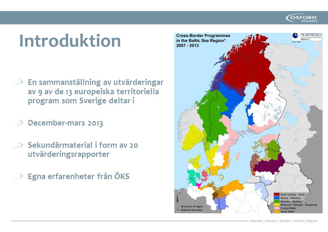 Svårigheter att skapa hög grad av gränsöverskridande mervärde i de nya geografiska programområdena 7.