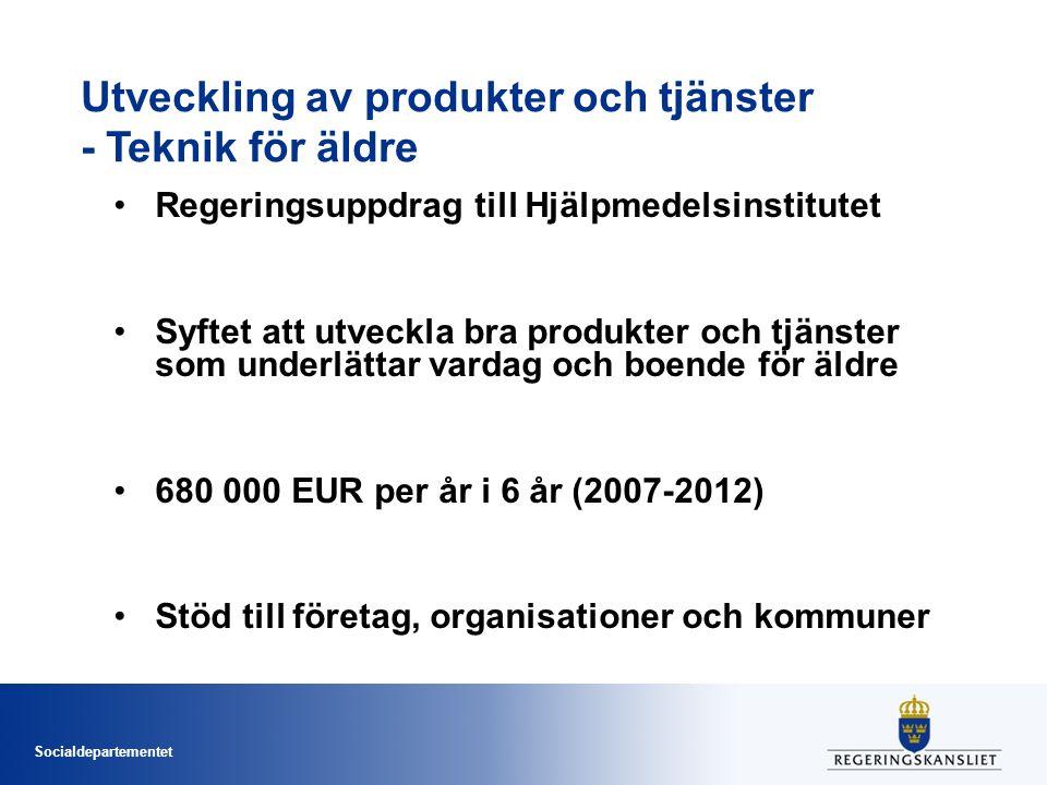 Socialdepartementet Utveckling av produkter och tjänster - Teknik för äldre •Regeringsuppdrag till Hjälpmedelsinstitutet •Syftet att utveckla bra prod
