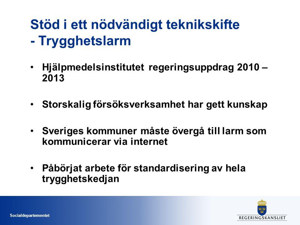 Socialdepartementet Stöd i ett nödvändigt teknikskifte - Trygghetslarm •Hjälpmedelsinstitutet regeringsuppdrag 2010 – 2013 •Storskalig försöksverksamh