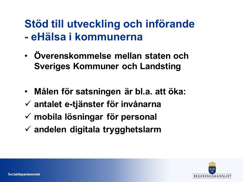 Socialdepartementet Stöd till utveckling och införande - eHälsa i kommunerna •Överenskommelse mellan staten och Sveriges Kommuner och Landsting •Målen