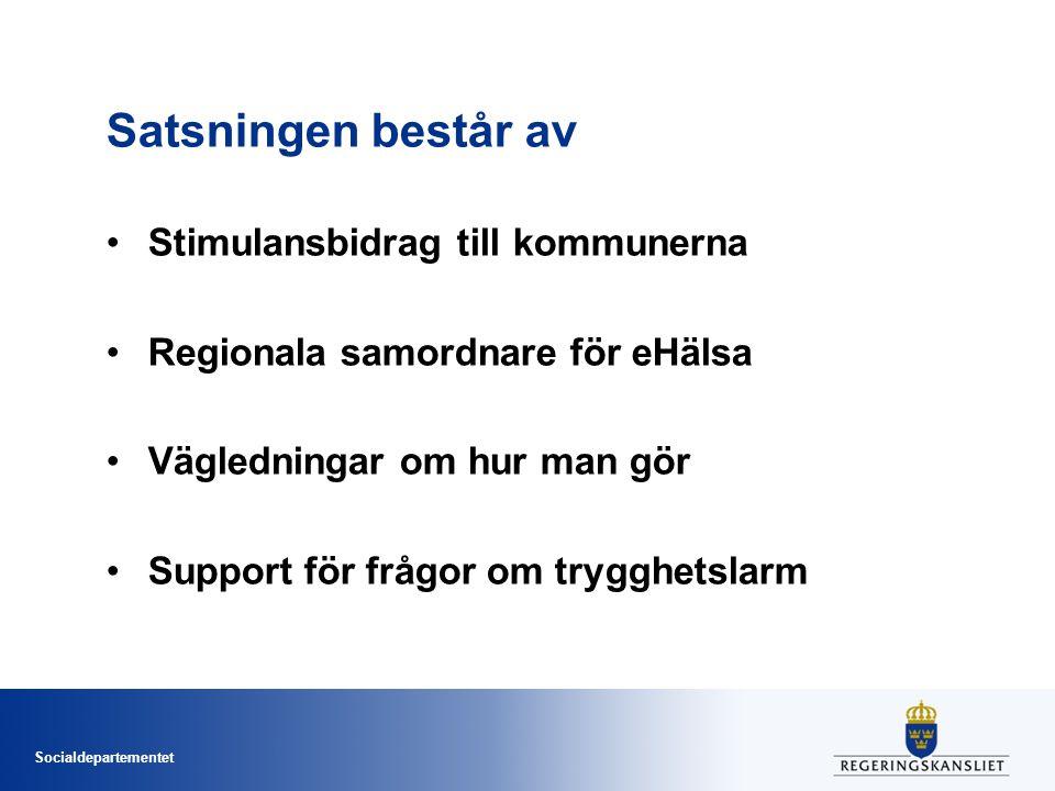Socialdepartementet Satsningen består av •Stimulansbidrag till kommunerna •Regionala samordnare för eHälsa •Vägledningar om hur man gör •Support för f