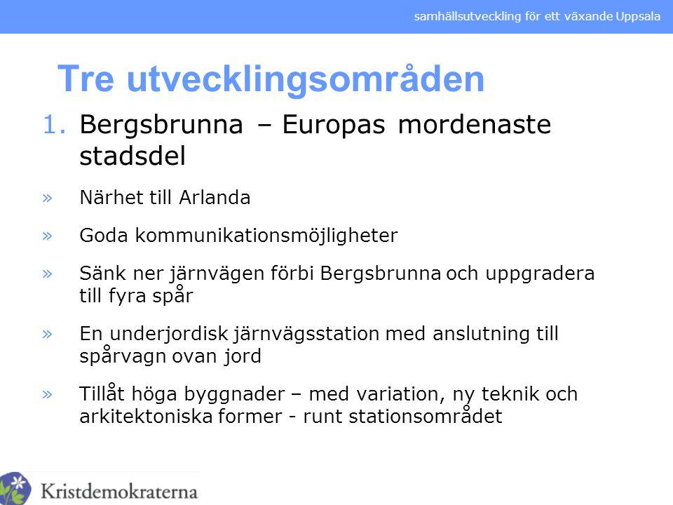samhällsutveckling för ett växande Uppsala Tre utvecklingsområden 1.Bergsbrunna – Europas mordenaste stadsdel »Närhet till Arlanda »Goda kommunikation