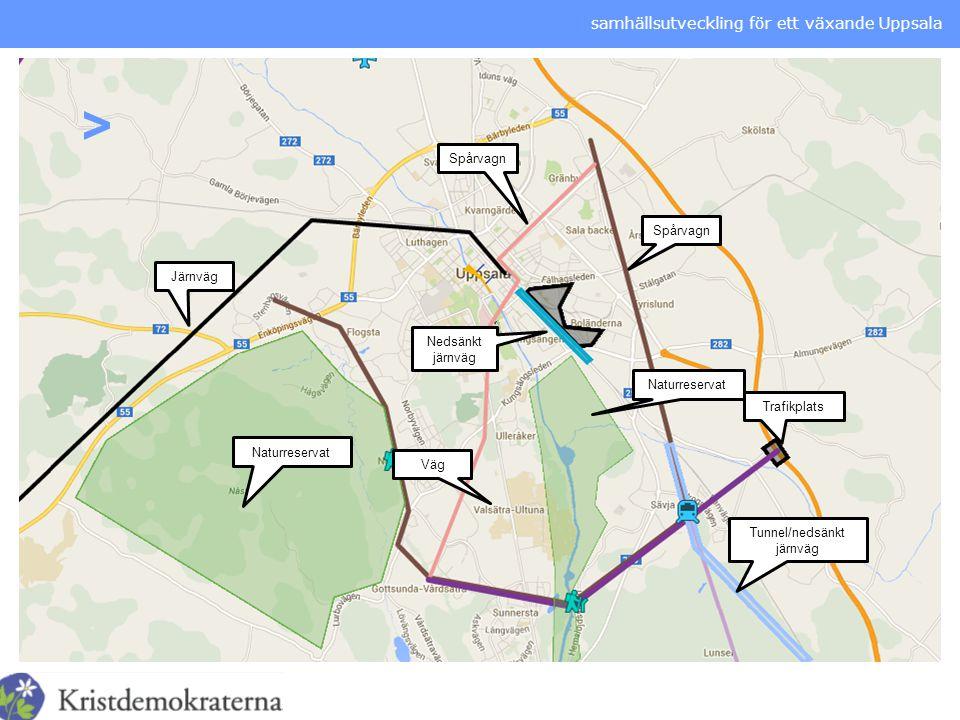 samhällsutveckling för ett växande Uppsala > Spårvagn Naturreservat Tunnel/nedsänkt järnväg Nedsänkt järnväg Järnväg Trafikplats Väg
