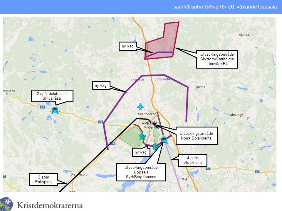 samhällsutveckling för ett växande Uppsala Utvecklingsområde Skyttorp/Vattholma Järnväg+E4 Utvecklingsområde Norra Boländerna Utvecklingsområde Uppsal
