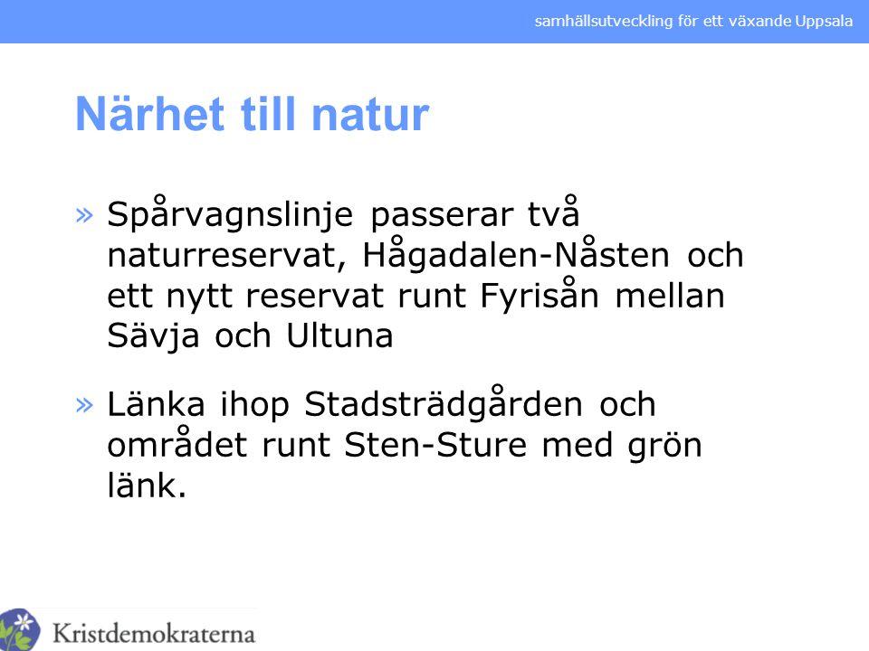 samhällsutveckling för ett växande Uppsala Närhet till natur »Spårvagnslinje passerar två naturreservat, Hågadalen-Nåsten och ett nytt reservat runt F