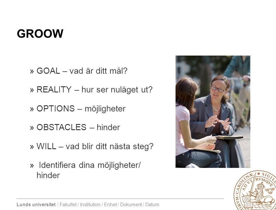 Lunds universitet / Fakultet / Institution / Enhet / Dokument / Datum GROOW »GOAL – vad är ditt mål.