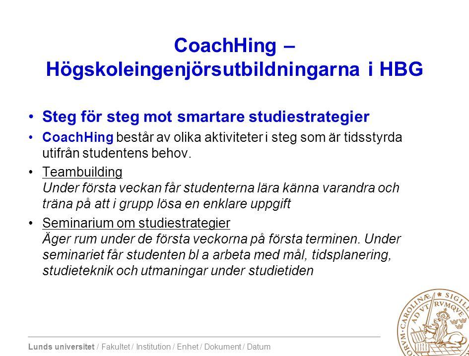 Lunds universitet / Fakultet / Institution / Enhet / Dokument / Datum CoachHing – Högskoleingenjörsutbildningarna i HBG •Steg för steg mot smartare studiestrategier •CoachHing består av olika aktiviteter i steg som är tidsstyrda utifrån studentens behov.
