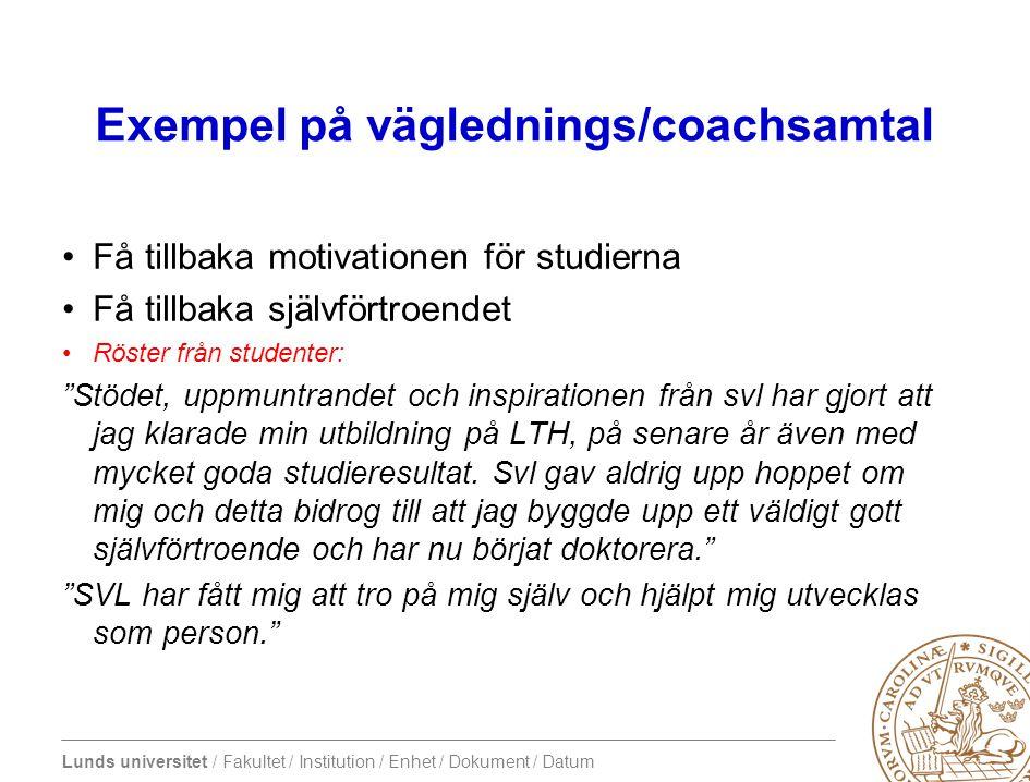 Lunds universitet / Fakultet / Institution / Enhet / Dokument / Datum Coachning »Studenthjulet »Hur ser balansen ut.