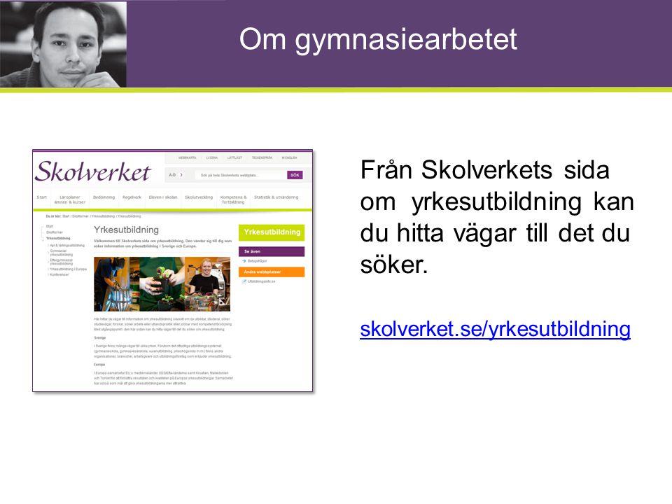 Om gymnasiearbetet Från Skolverkets sida om yrkesutbildning kan du hitta vägar till det du söker. skolverket.se/yrkesutbildning