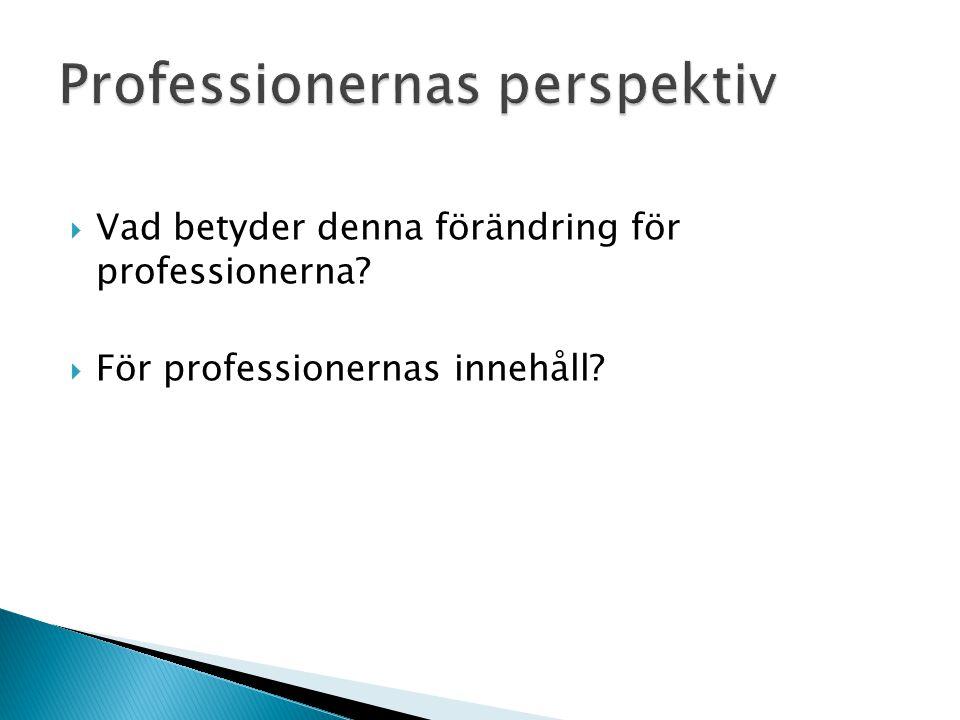  Vad betyder denna förändring för professionerna?  För professionernas innehåll?