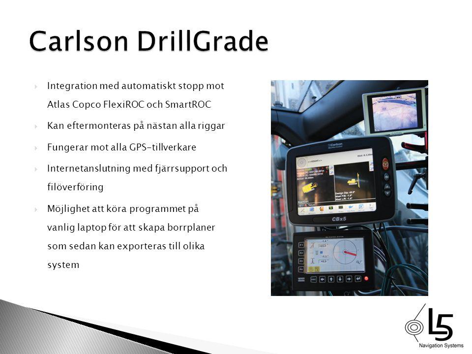  Integration med automatiskt stopp mot Atlas Copco FlexiROC och SmartROC  Kan eftermonteras på nästan alla riggar  Fungerar mot alla GPS-tillverkar